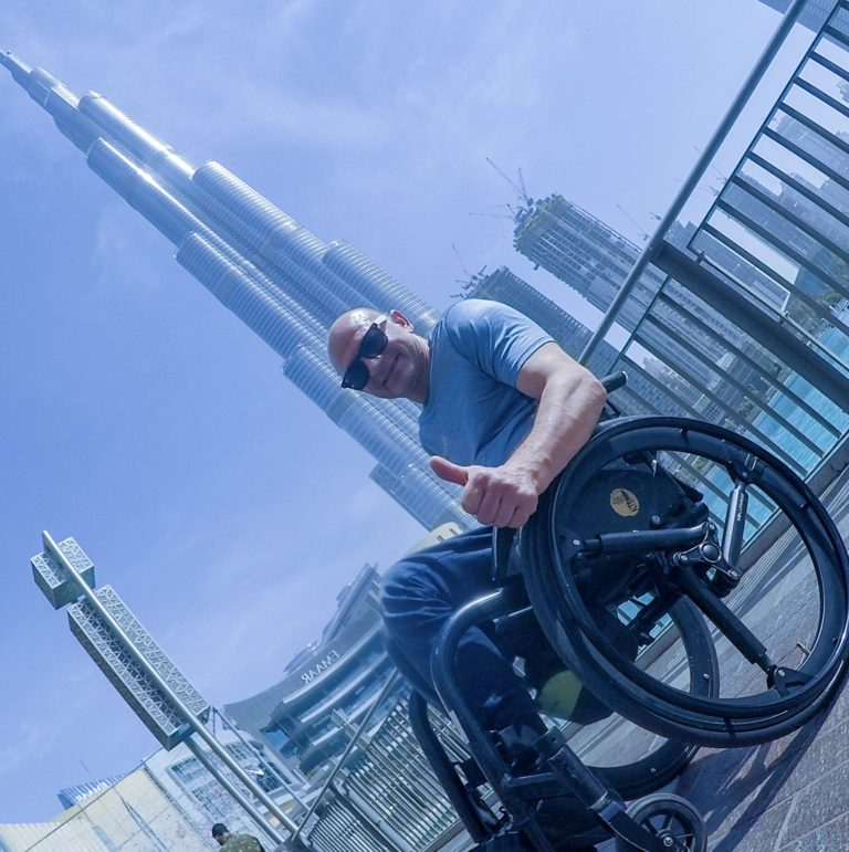 man with wheelchair and SoftWheel wheels